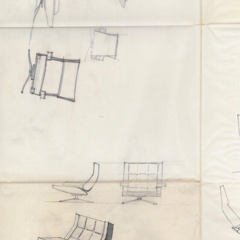 Schizzi preparatori per progetto poltrona - matita su carta da lucido - primi anni '60 - cm. 72x54