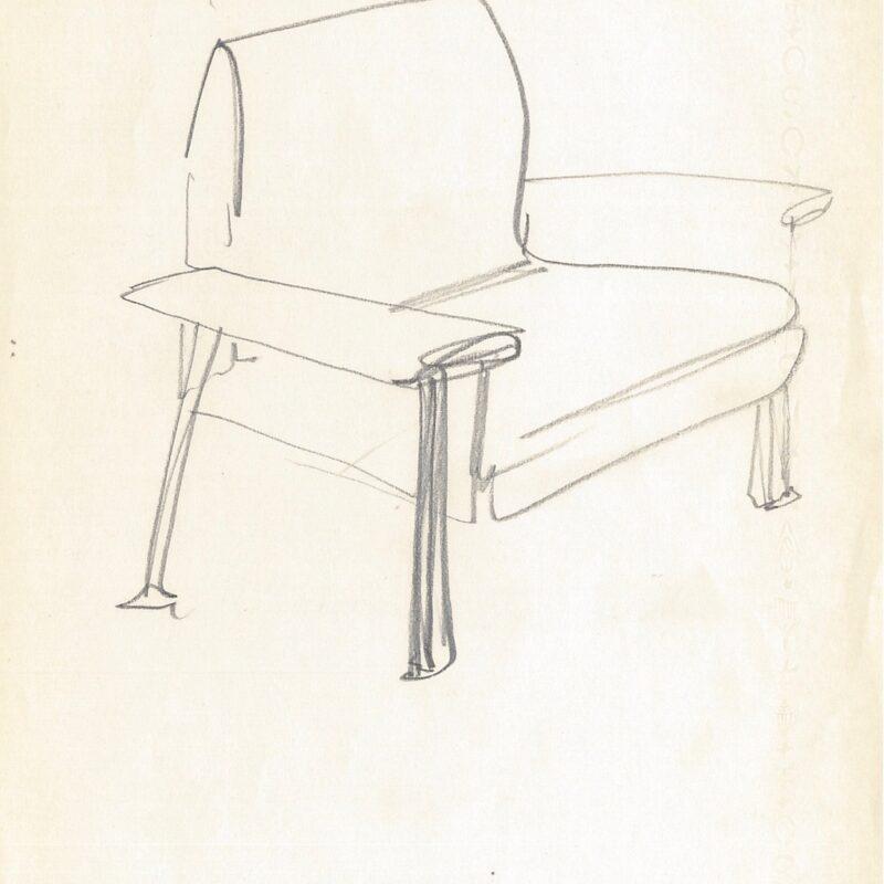 Schizzo poltrona - matita su carta - metà anni '60 - cm. 29,5x21
