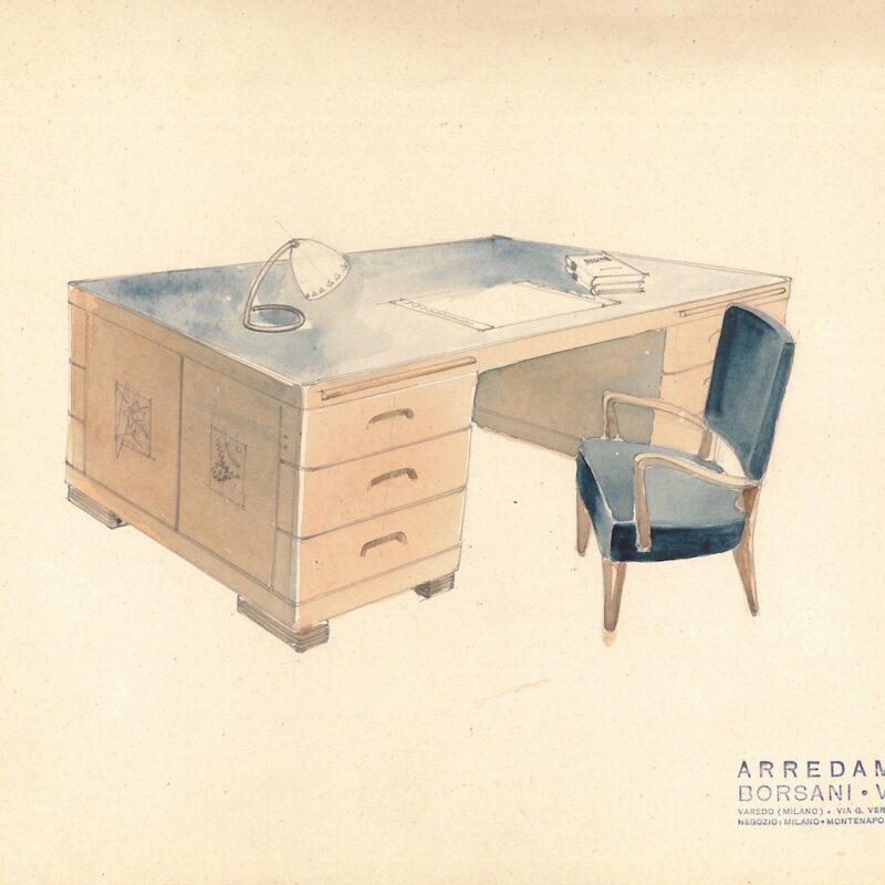 Scrivania per ufficio con poltroncina - matita e acquarello su carta - 1941 - cm. 32,5x25