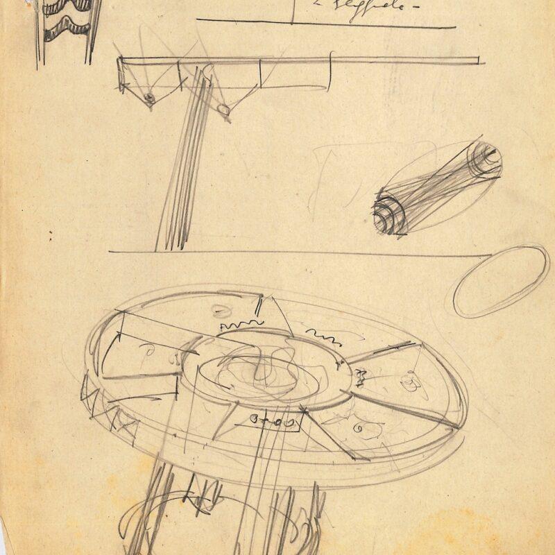 Tavolo con piano in vetro - matita su carta - 1942 - cm. 28,5x22,5